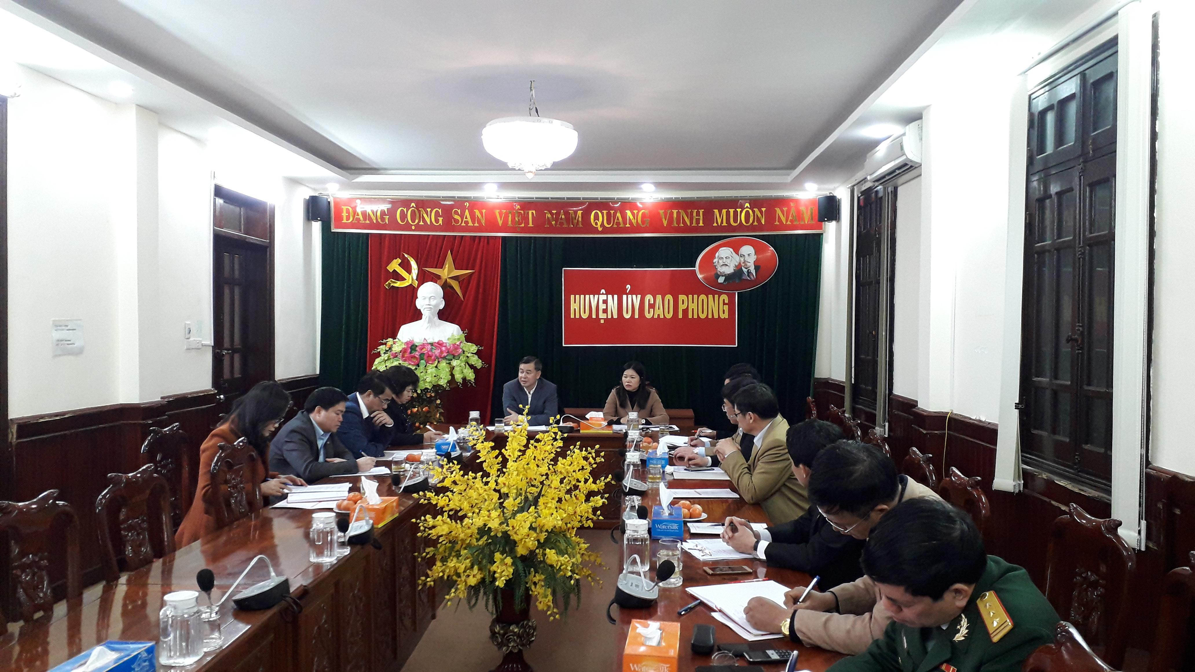 Đồng chí Phó bí thư tỉnh ủy làm việc với thường vụ huyện ủy