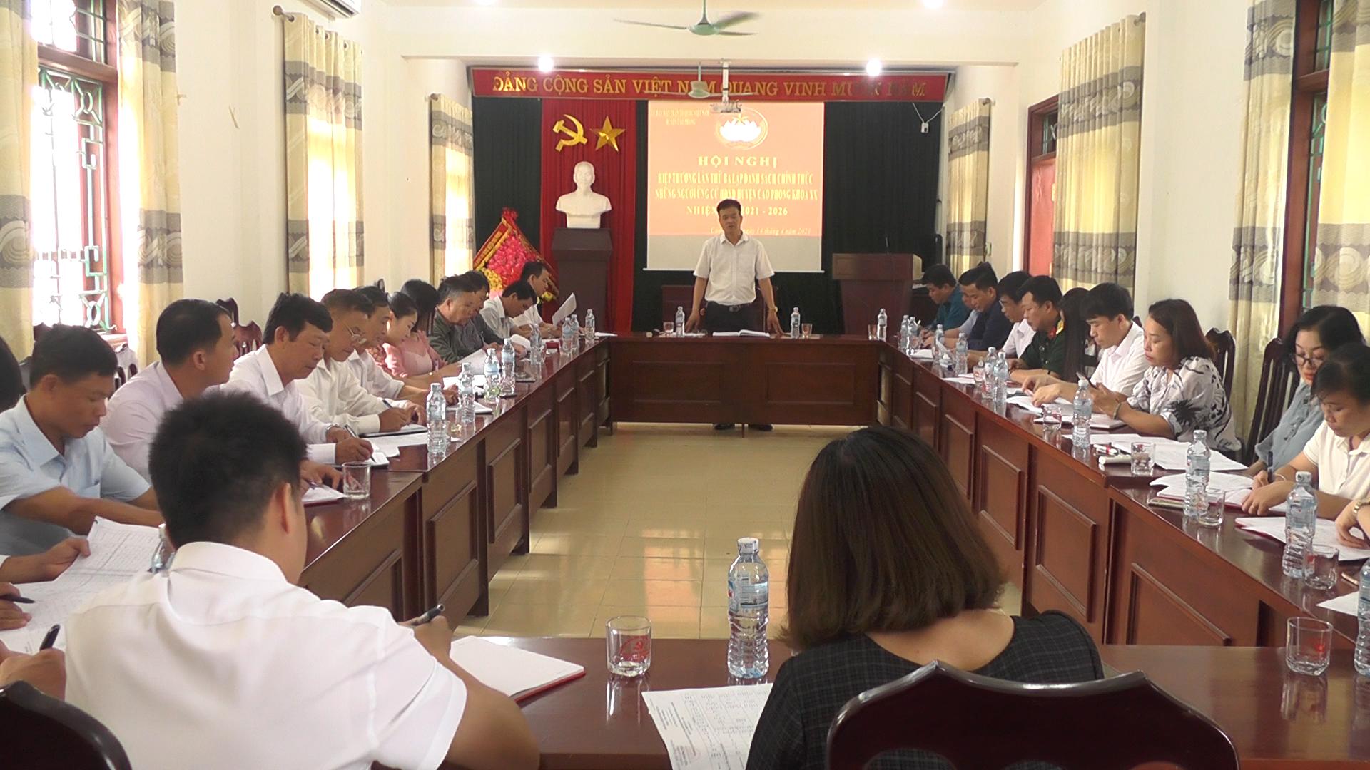 Cao Phong hiệp thương lần 3 lập danh sách chính thức người ứng cử đại biểu HĐND huyện khóa XX